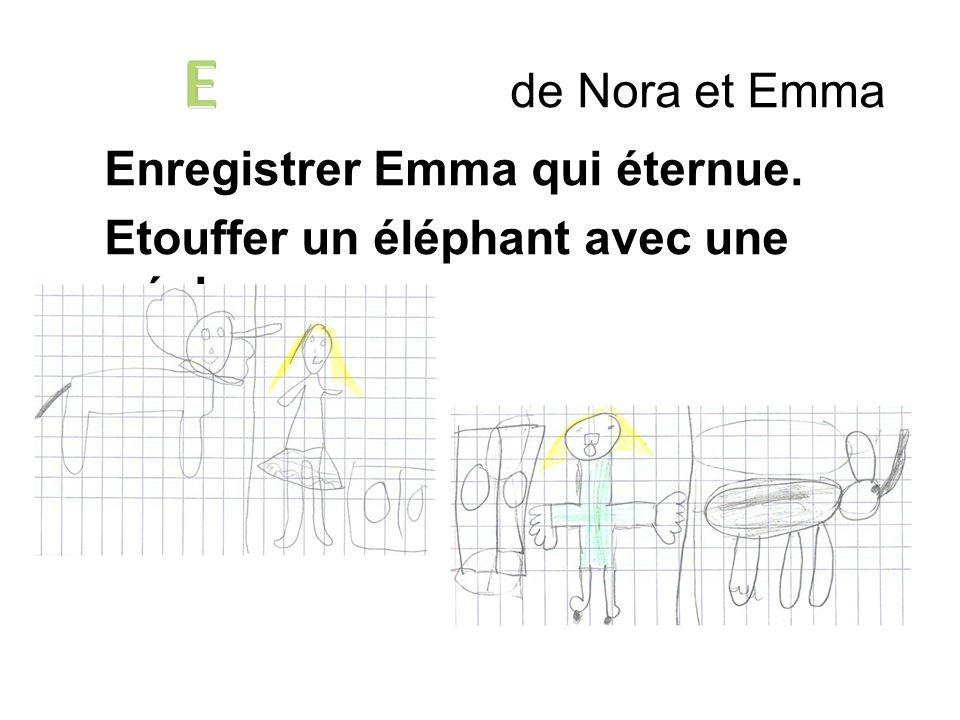 E de Nora et Emma Enregistrer Emma qui éternue. Etouffer un éléphant avec une écharpe.