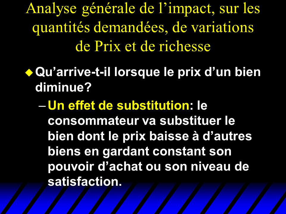 Analyse générale de l'impact, sur les quantités demandées, de variations de Prix et de richesse