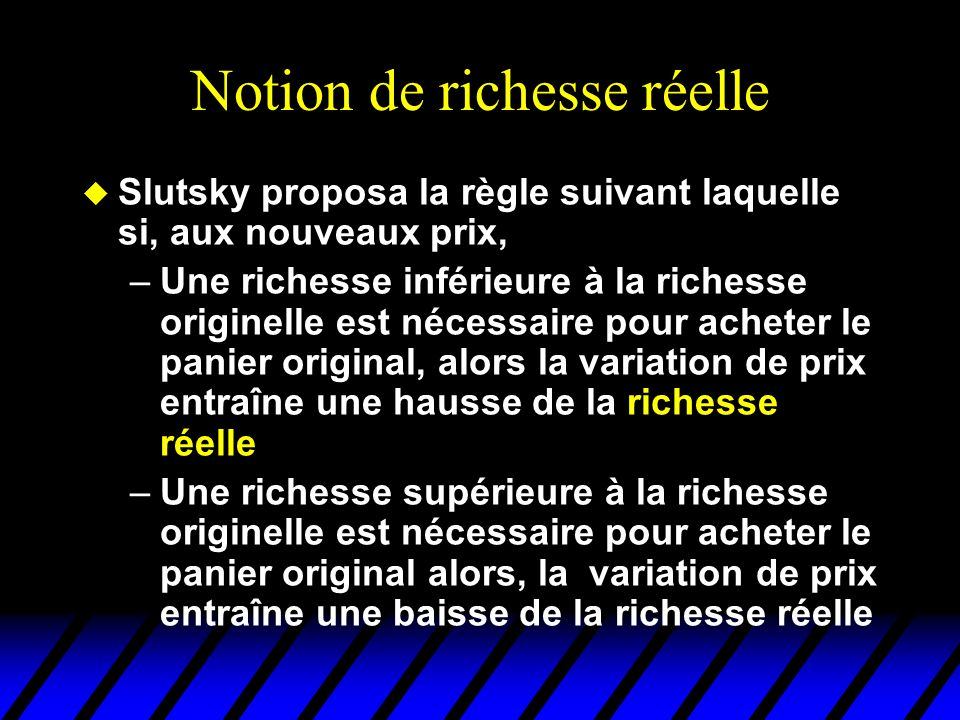 Notion de richesse réelle