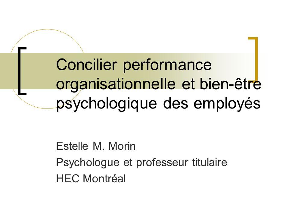 Estelle M. Morin Psychologue et professeur titulaire HEC Montréal