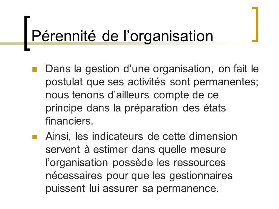 Pérennité de l'organisation
