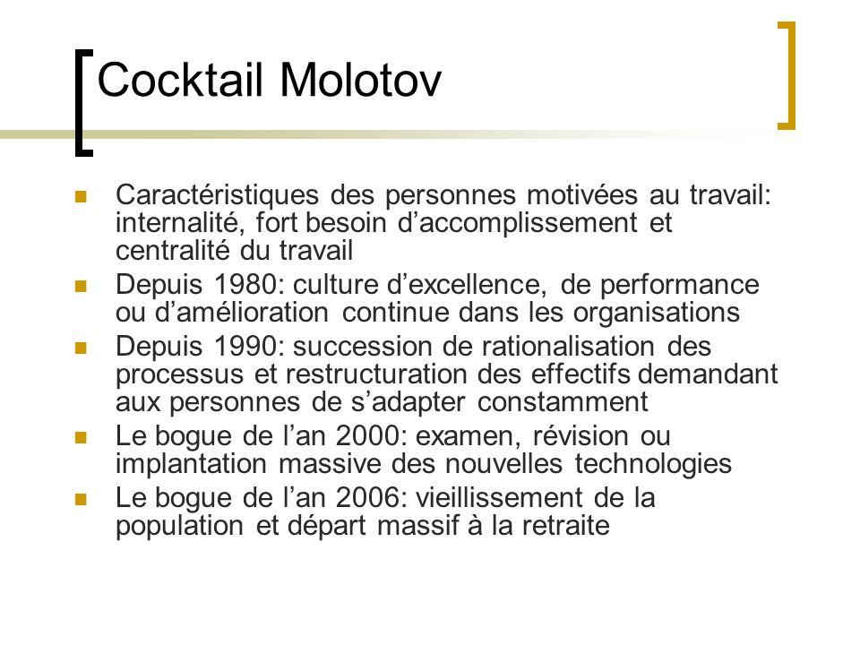 Cocktail Molotov Caractéristiques des personnes motivées au travail: internalité, fort besoin d'accomplissement et centralité du travail.