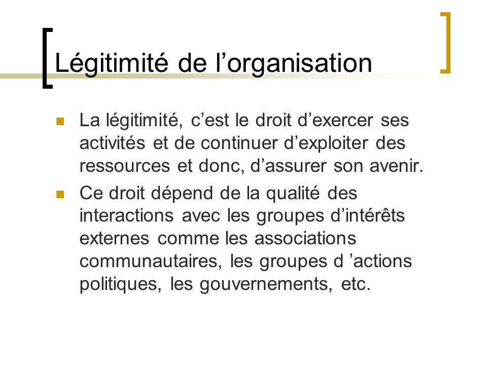 Légitimité de l'organisation