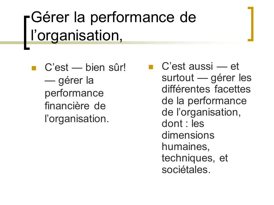 Gérer la performance de l'organisation,