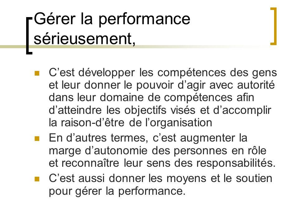 Gérer la performance sérieusement,