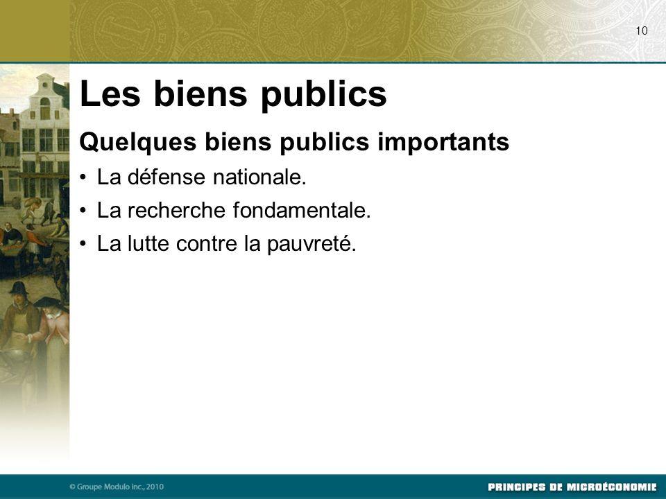 Les biens publics Quelques biens publics importants