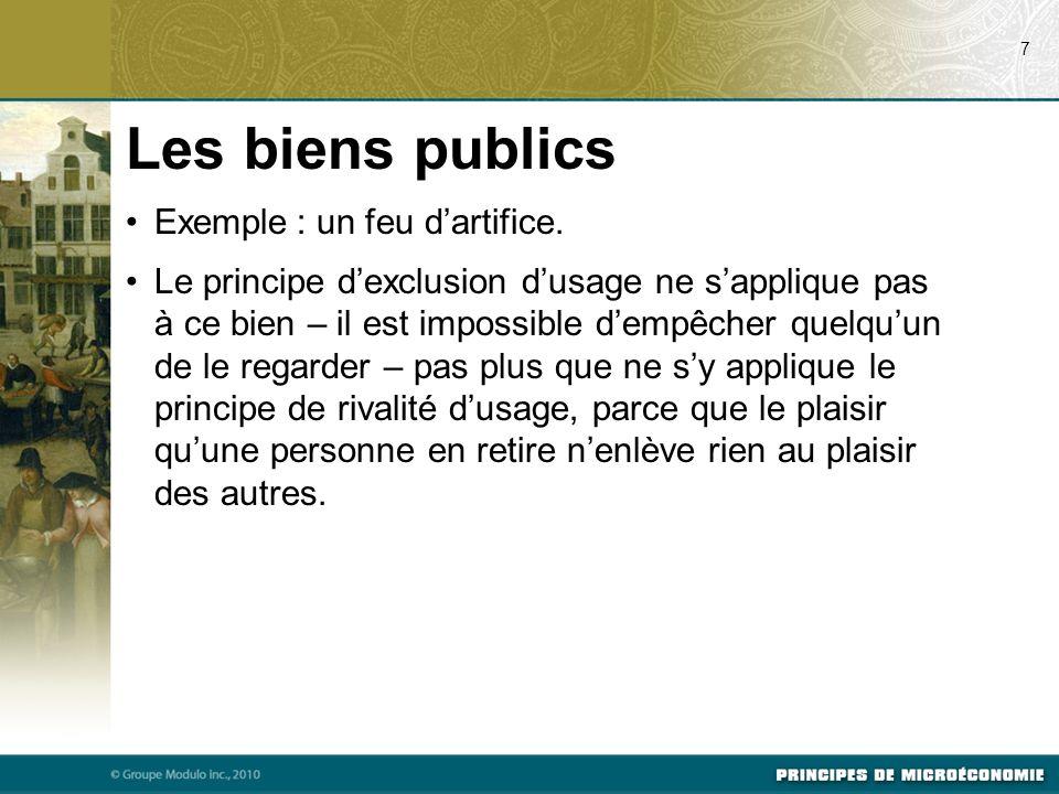 Les biens publics Exemple : un feu d'artifice.