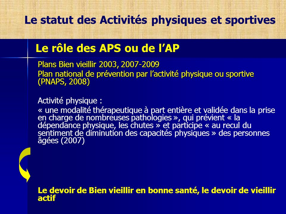 Le statut des Activités physiques et sportives