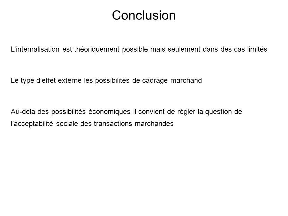 Conclusion L'internalisation est théoriquement possible mais seulement dans des cas limités.