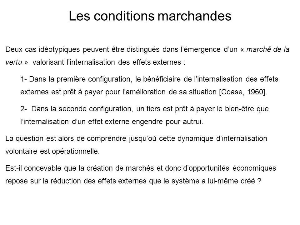 Les conditions marchandes