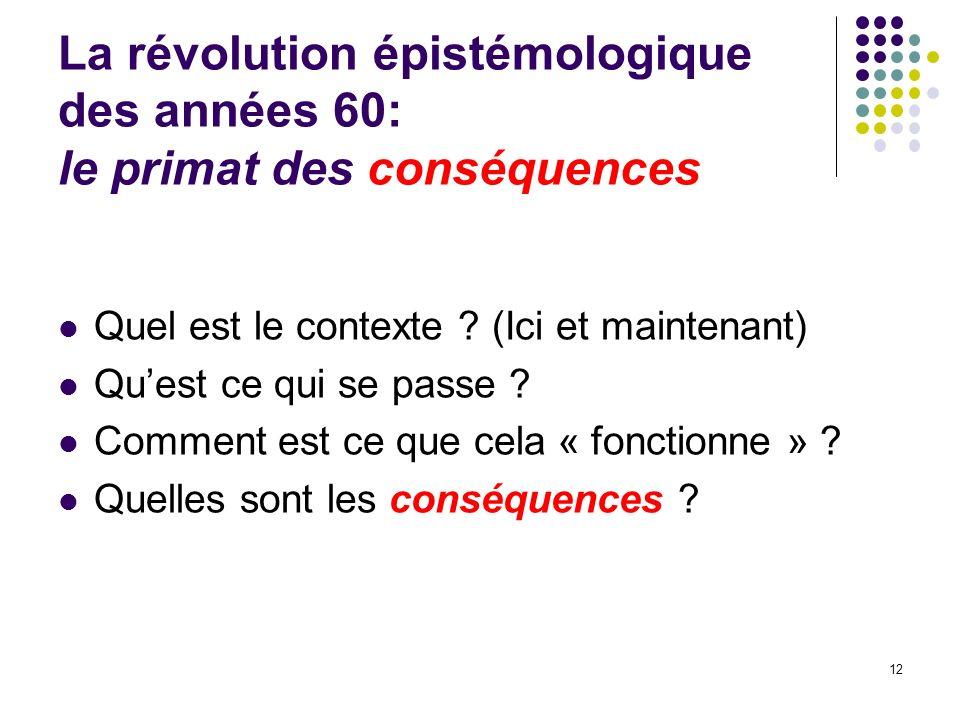 La révolution épistémologique des années 60: le primat des conséquences