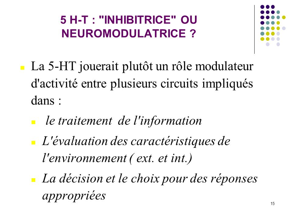 5 H-T : INHIBITRICE OU NEUROMODULATRICE