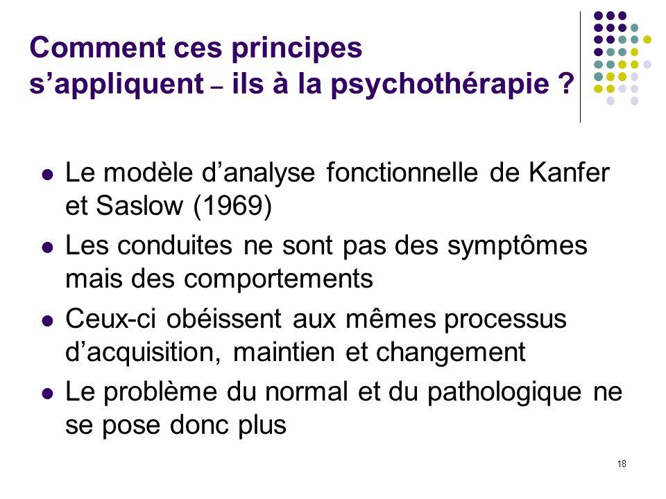 Comment ces principes s'appliquent – ils à la psychothérapie