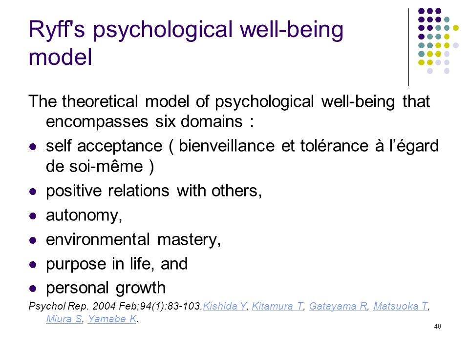 Ryff s psychological well-being model