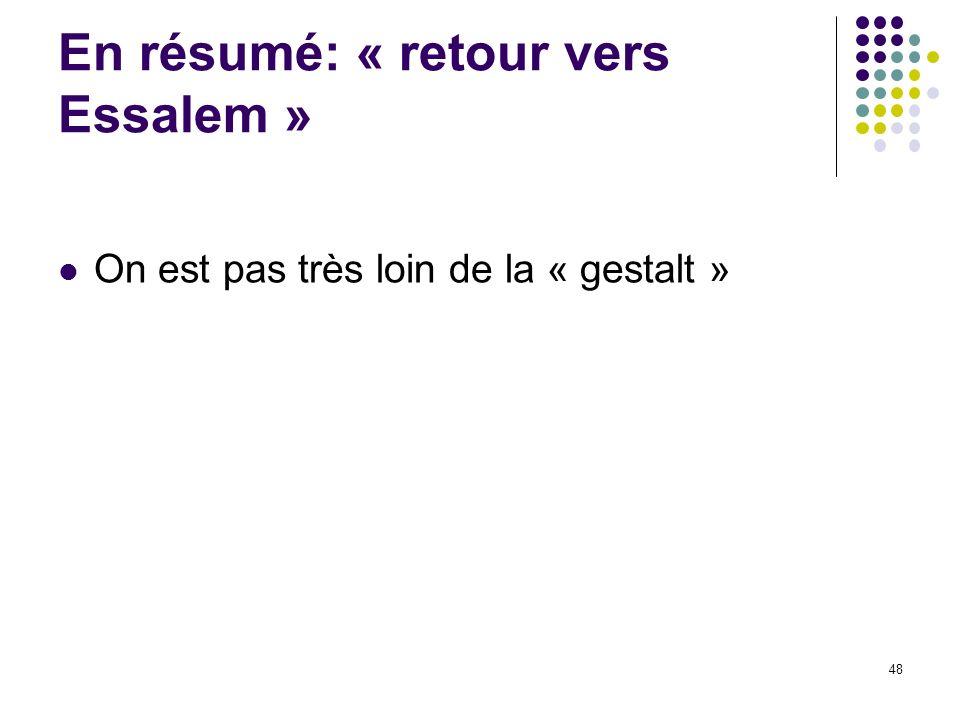 En résumé: « retour vers Essalem »