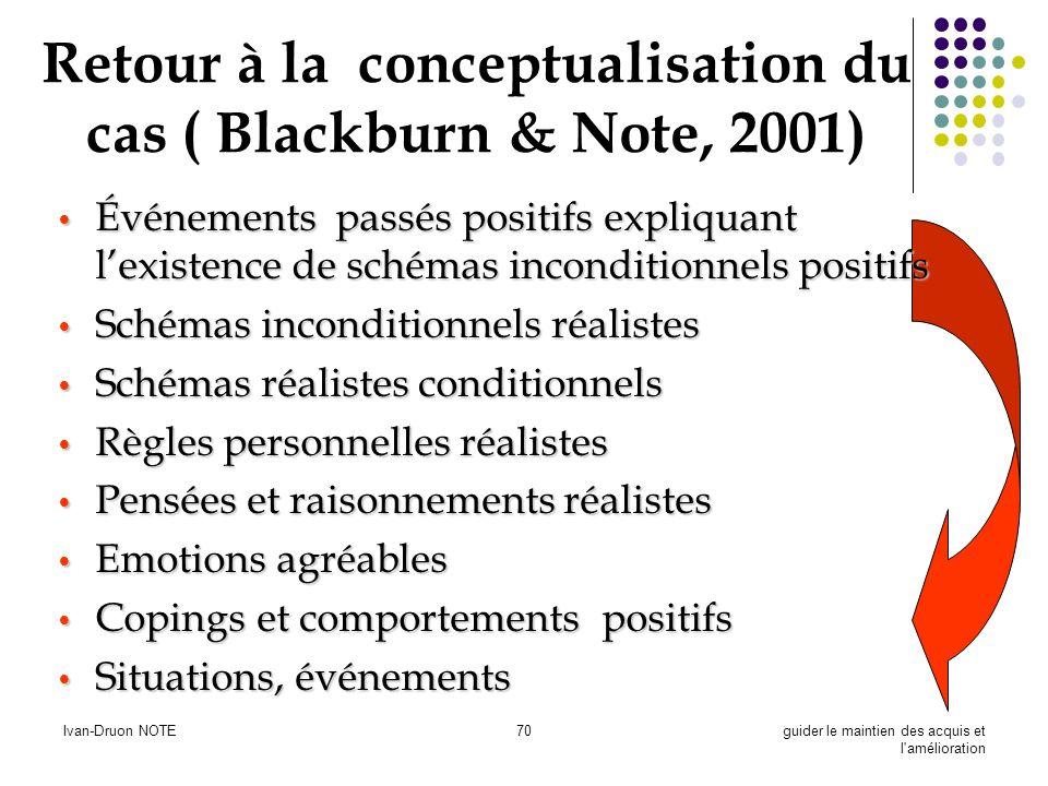 Retour à la conceptualisation du cas ( Blackburn & Note, 2001)