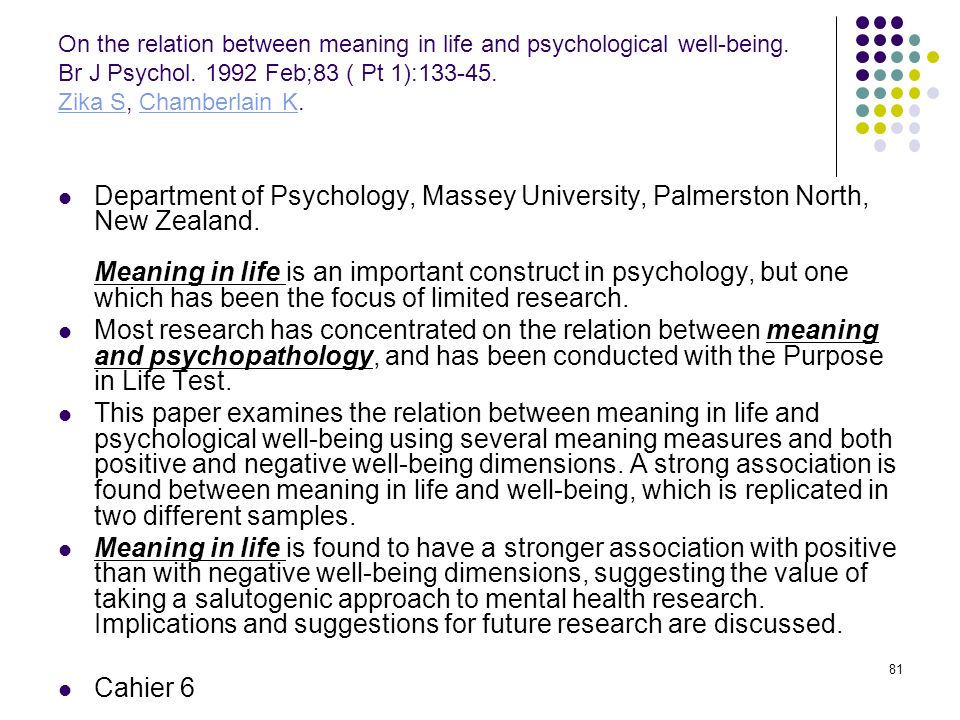 On the relation between meaning in life and psychological well-being