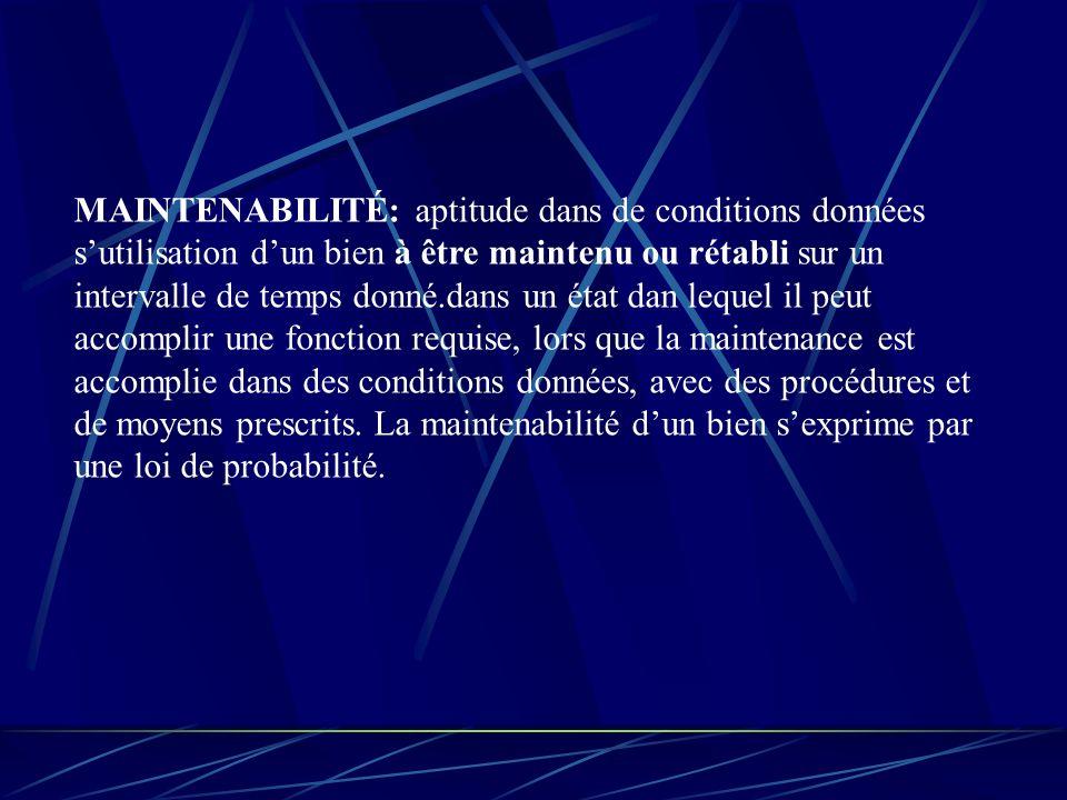 MAINTENABILITÉ: aptitude dans de conditions données s'utilisation d'un bien à être maintenu ou rétabli sur un intervalle de temps donné.dans un état dan lequel il peut accomplir une fonction requise, lors que la maintenance est accomplie dans des conditions données, avec des procédures et de moyens prescrits.