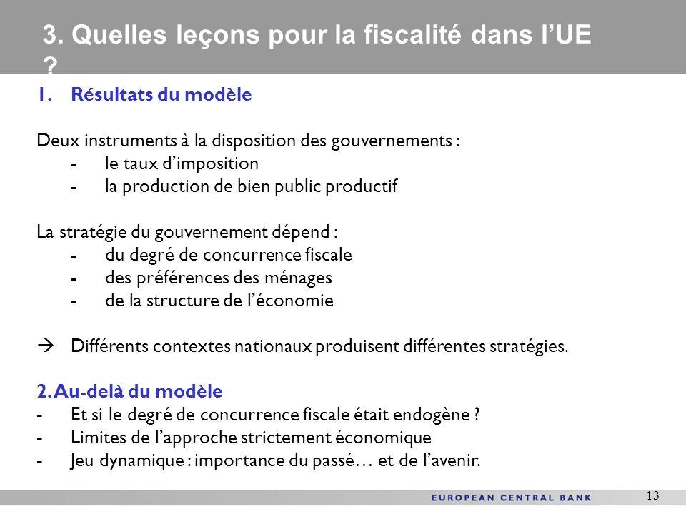 3. Quelles leçons pour la fiscalité dans l'UE
