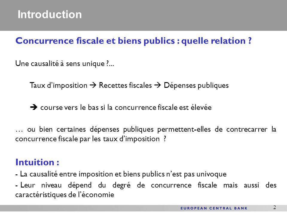 Introduction Concurrence fiscale et biens publics : quelle relation