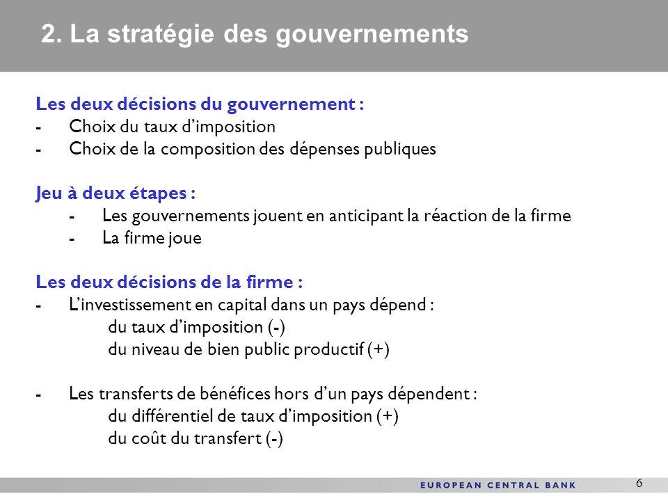 2. La stratégie des gouvernements