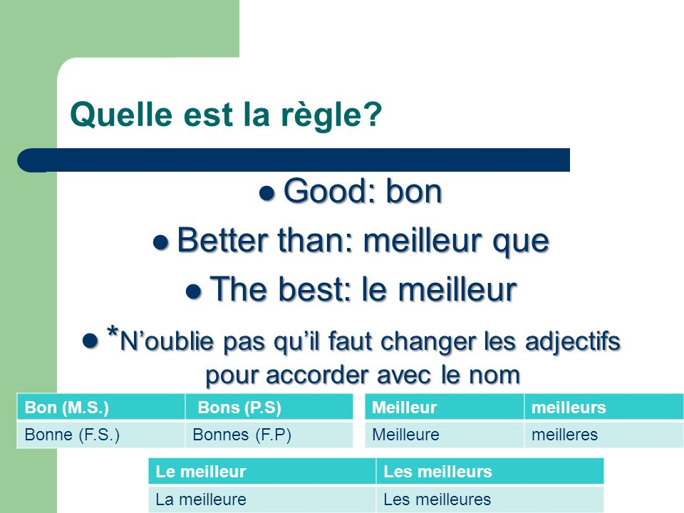 Better than: meilleur que