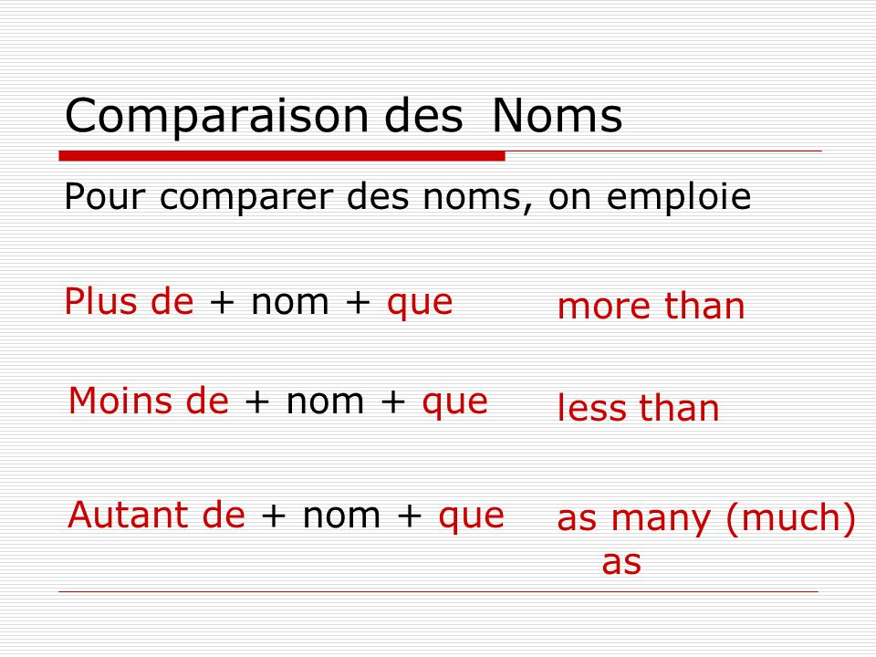 Comparaison des Noms Pour comparer des noms, on emploie