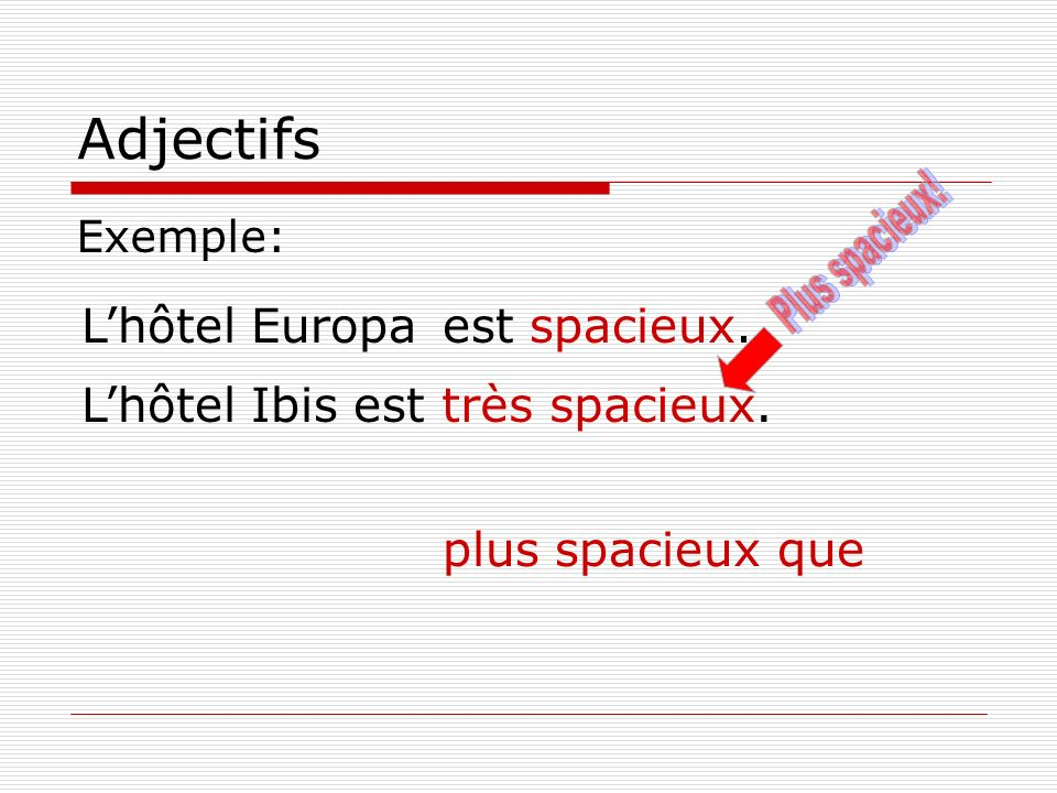 Adjectifs Plus spacieux! L'hôtel Europa est spacieux. L'hôtel Ibis est