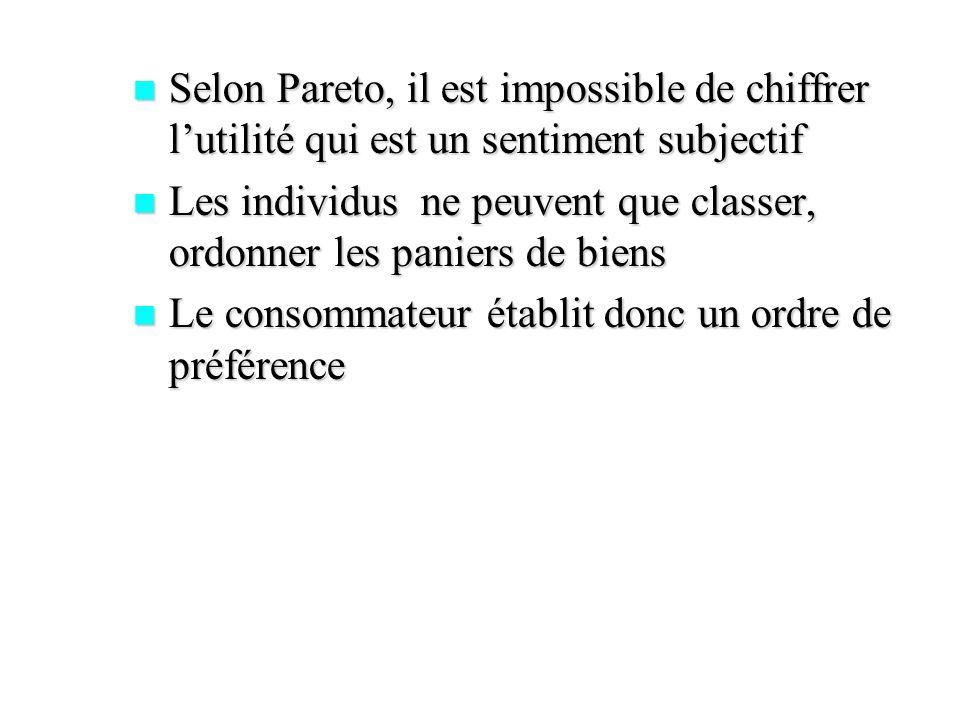 Selon Pareto, il est impossible de chiffrer l'utilité qui est un sentiment subjectif