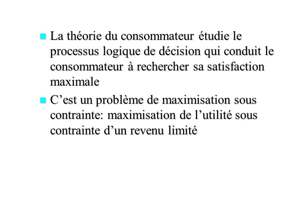 La théorie du consommateur étudie le processus logique de décision qui conduit le consommateur à rechercher sa satisfaction maximale