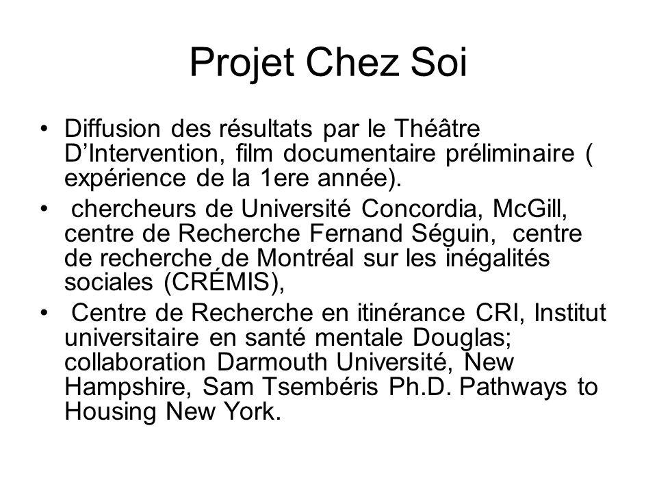 Projet Chez Soi Diffusion des résultats par le Théâtre D'Intervention, film documentaire préliminaire ( expérience de la 1ere année).