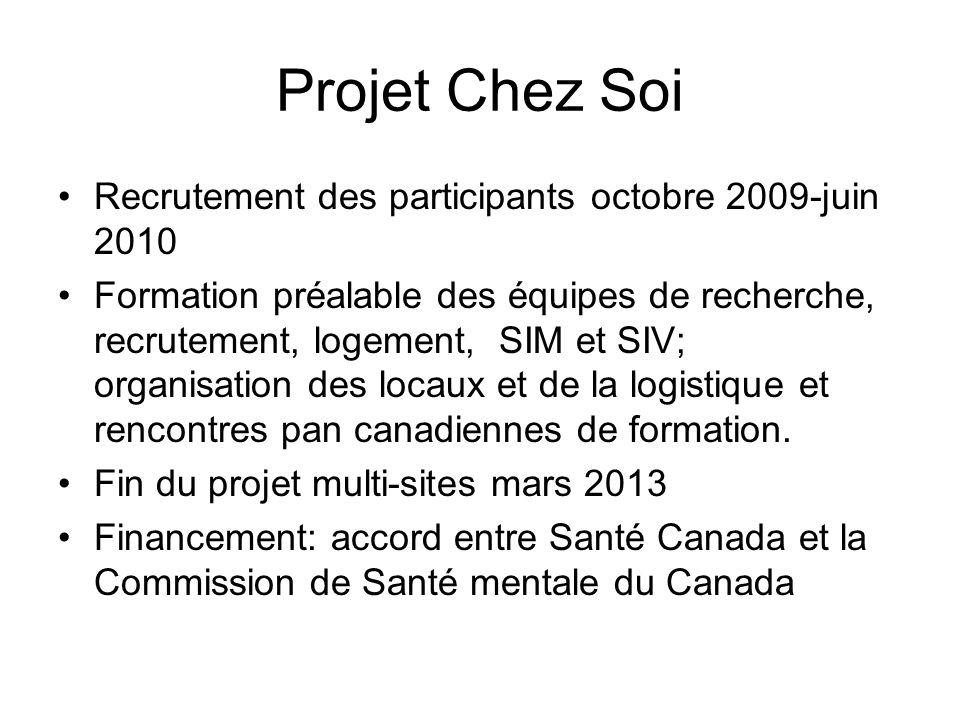 Projet Chez Soi Recrutement des participants octobre 2009-juin 2010