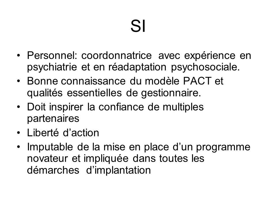 SI Personnel: coordonnatrice avec expérience en psychiatrie et en réadaptation psychosociale.