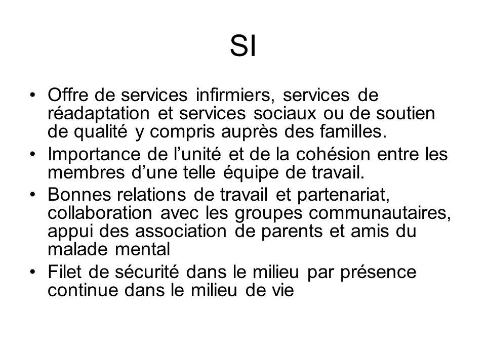 SI Offre de services infirmiers, services de réadaptation et services sociaux ou de soutien de qualité y compris auprès des familles.