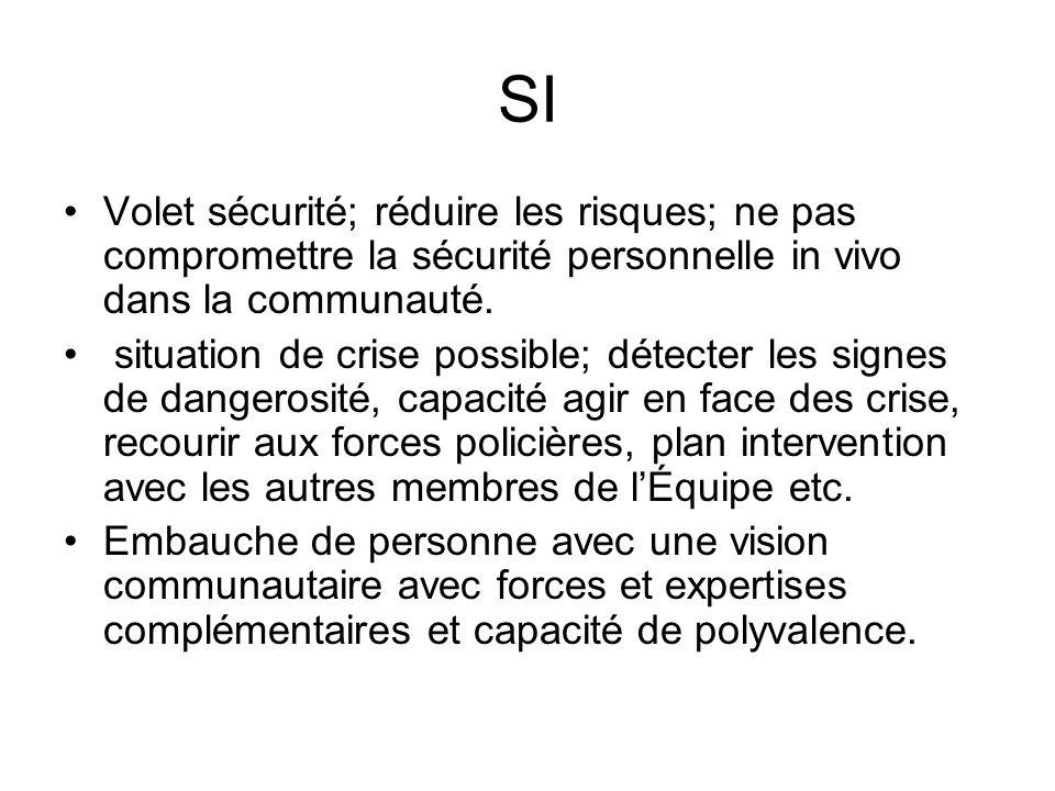 SI Volet sécurité; réduire les risques; ne pas compromettre la sécurité personnelle in vivo dans la communauté.
