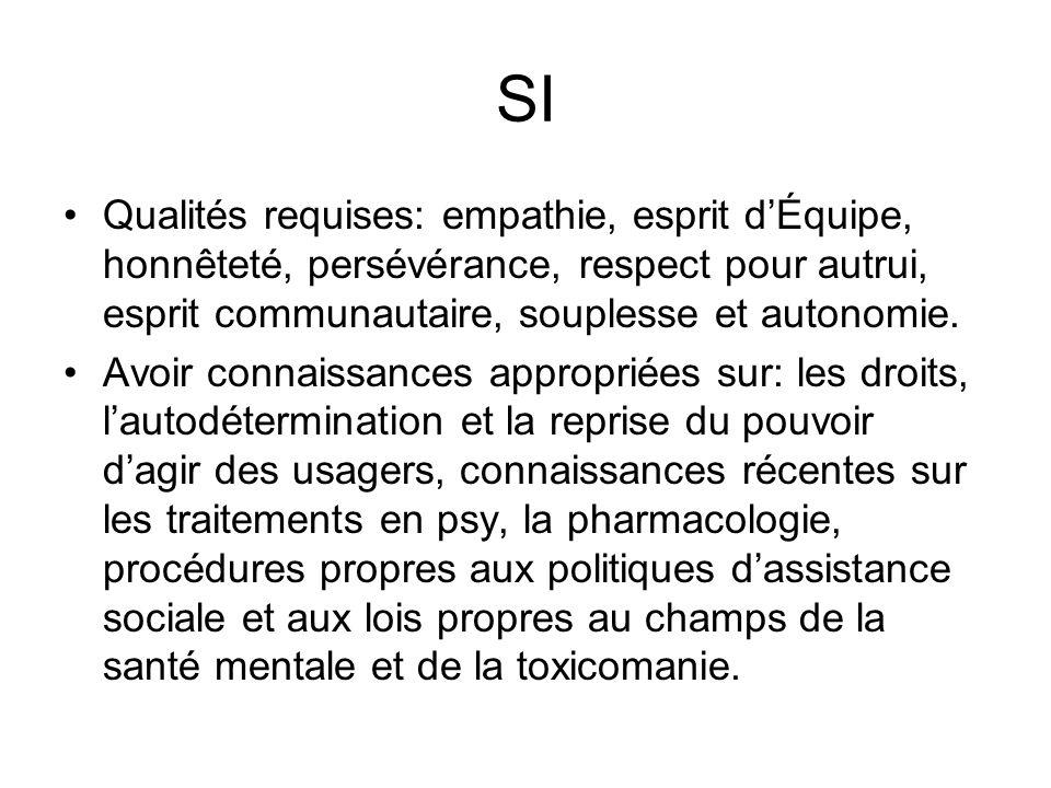 SI Qualités requises: empathie, esprit d'Équipe, honnêteté, persévérance, respect pour autrui, esprit communautaire, souplesse et autonomie.