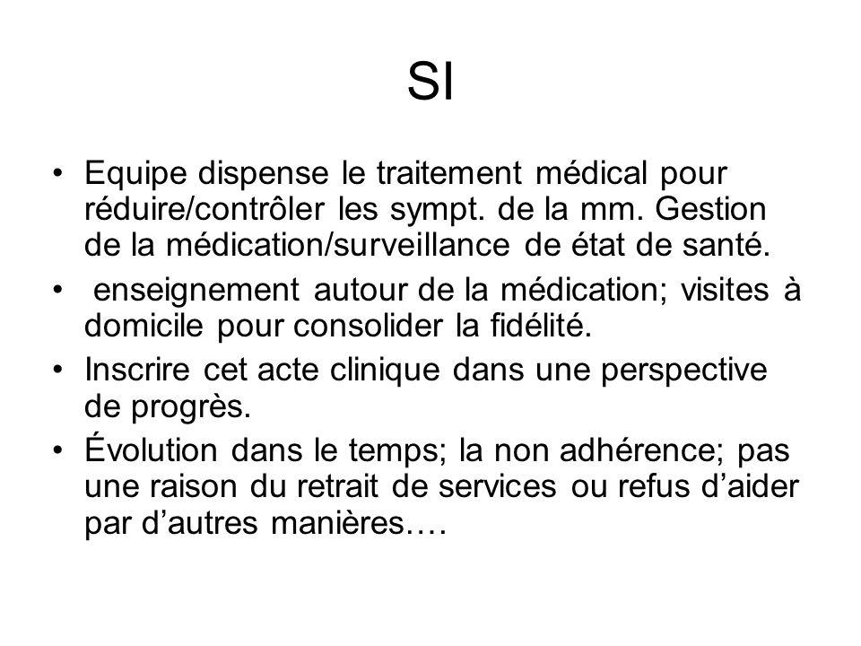 SI Equipe dispense le traitement médical pour réduire/contrôler les sympt. de la mm. Gestion de la médication/surveillance de état de santé.