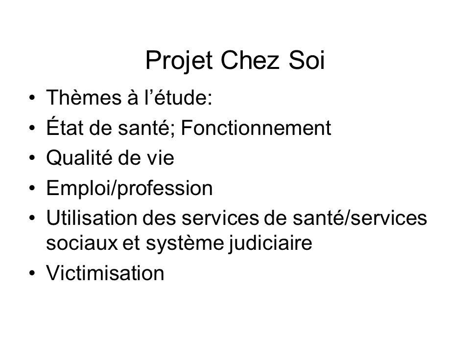 Projet Chez Soi Thèmes à l'étude: État de santé; Fonctionnement