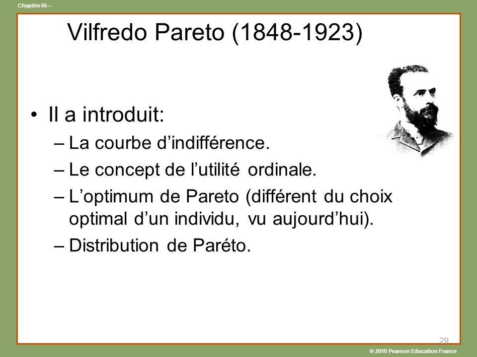Vilfredo Pareto (1848-1923) Il a introduit: La courbe d'indifférence.