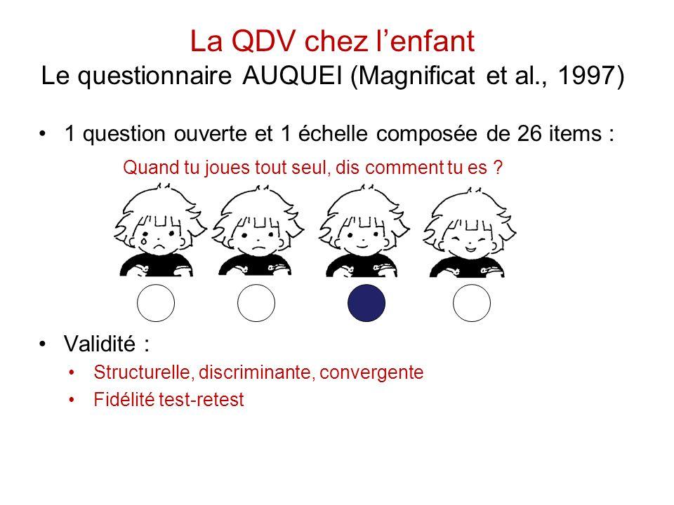 La QDV chez l'enfant Le questionnaire AUQUEI (Magnificat et al., 1997)