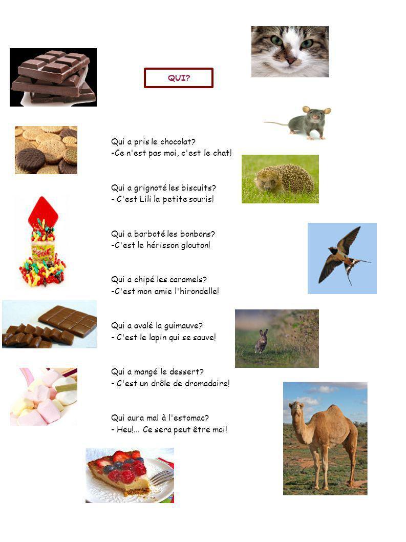 QUI Qui a pris le chocolat -Ce n est pas moi, c est le chat! Qui a grignoté les biscuits - C est Lili la petite souris!
