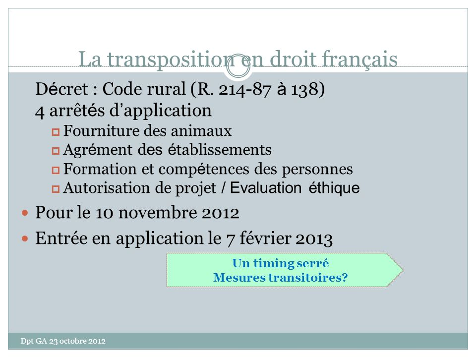 La transposition en droit français