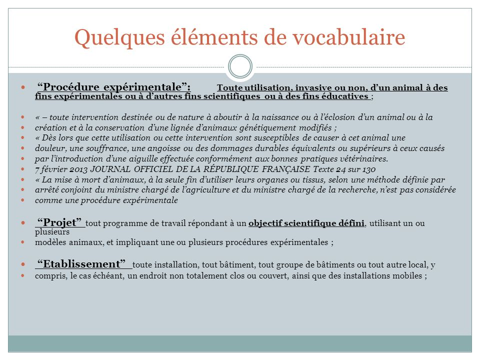 Quelques éléments de vocabulaire
