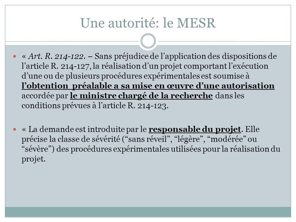 Une autorité: le MESR