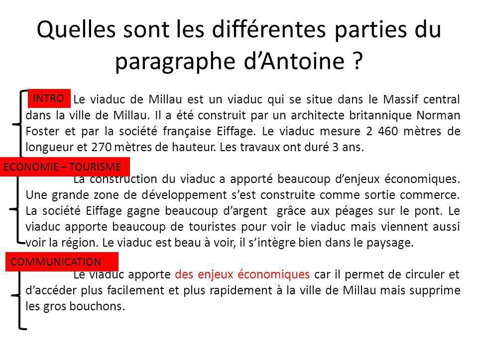 Quelles sont les différentes parties du paragraphe d'Antoine
