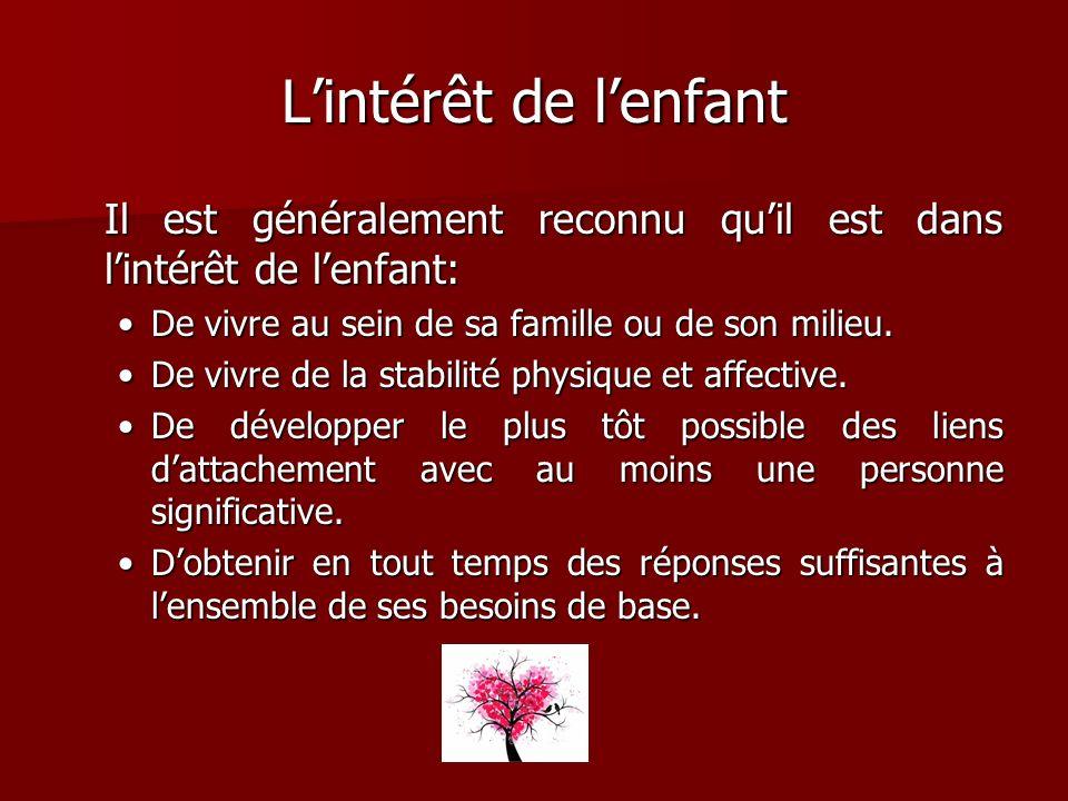 L'intérêt de l'enfant Il est généralement reconnu qu'il est dans l'intérêt de l'enfant: De vivre au sein de sa famille ou de son milieu.