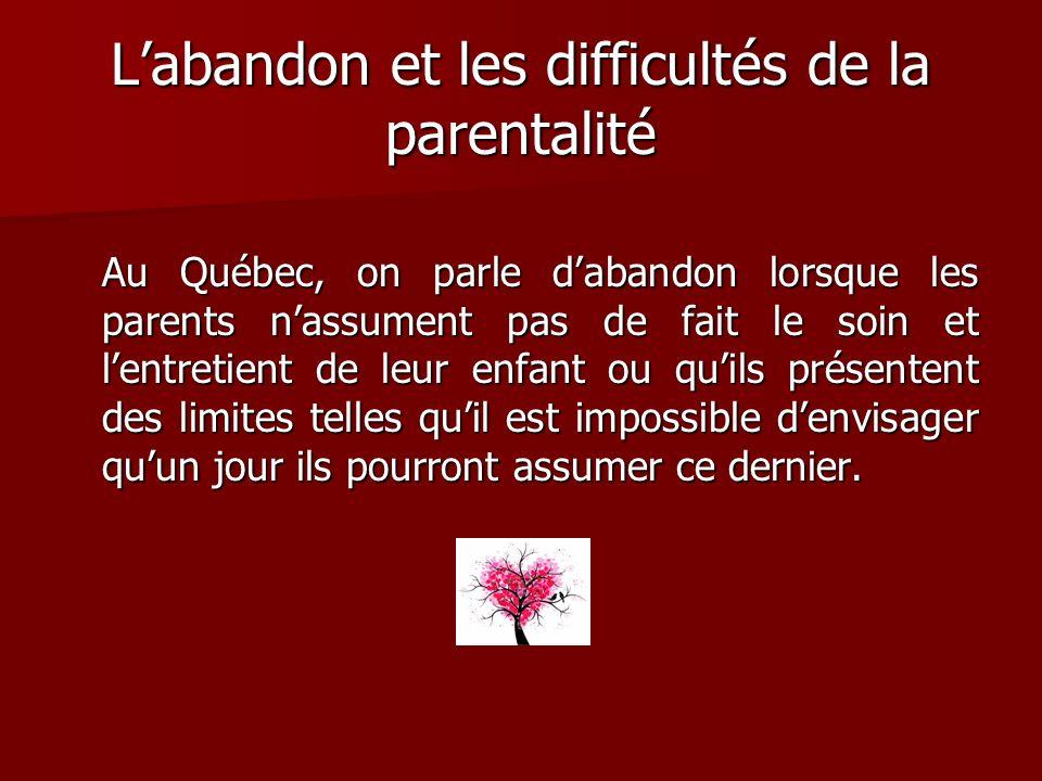 L'abandon et les difficultés de la parentalité