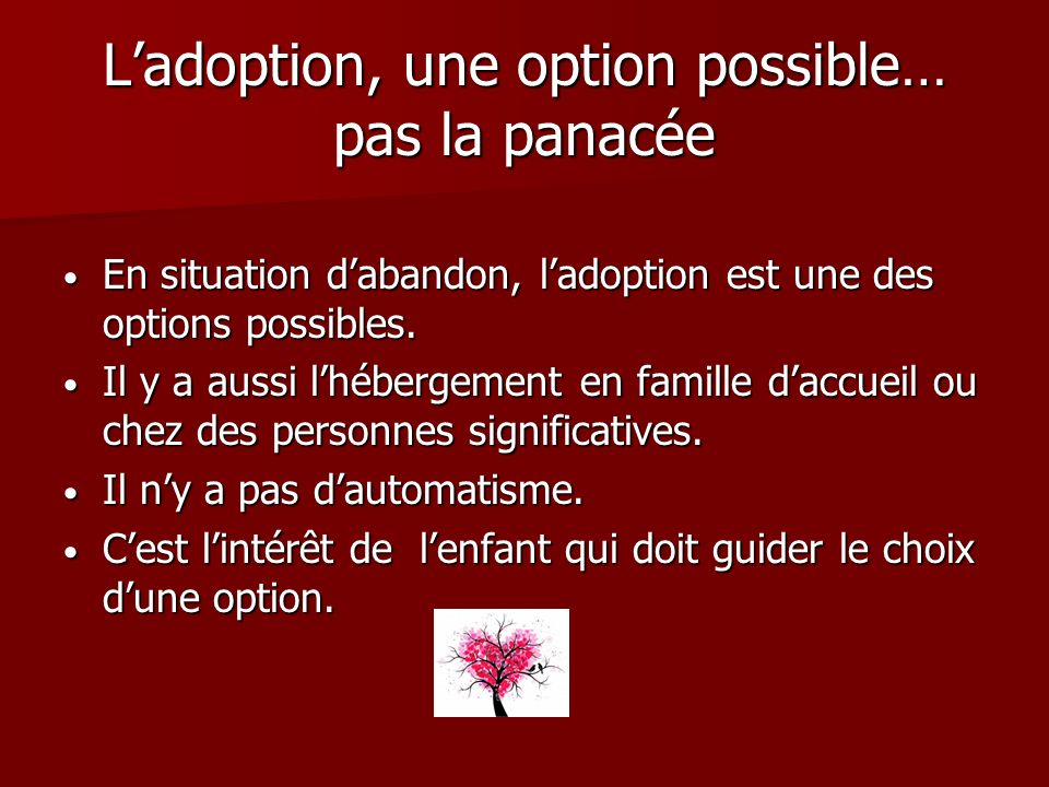 L'adoption, une option possible… pas la panacée