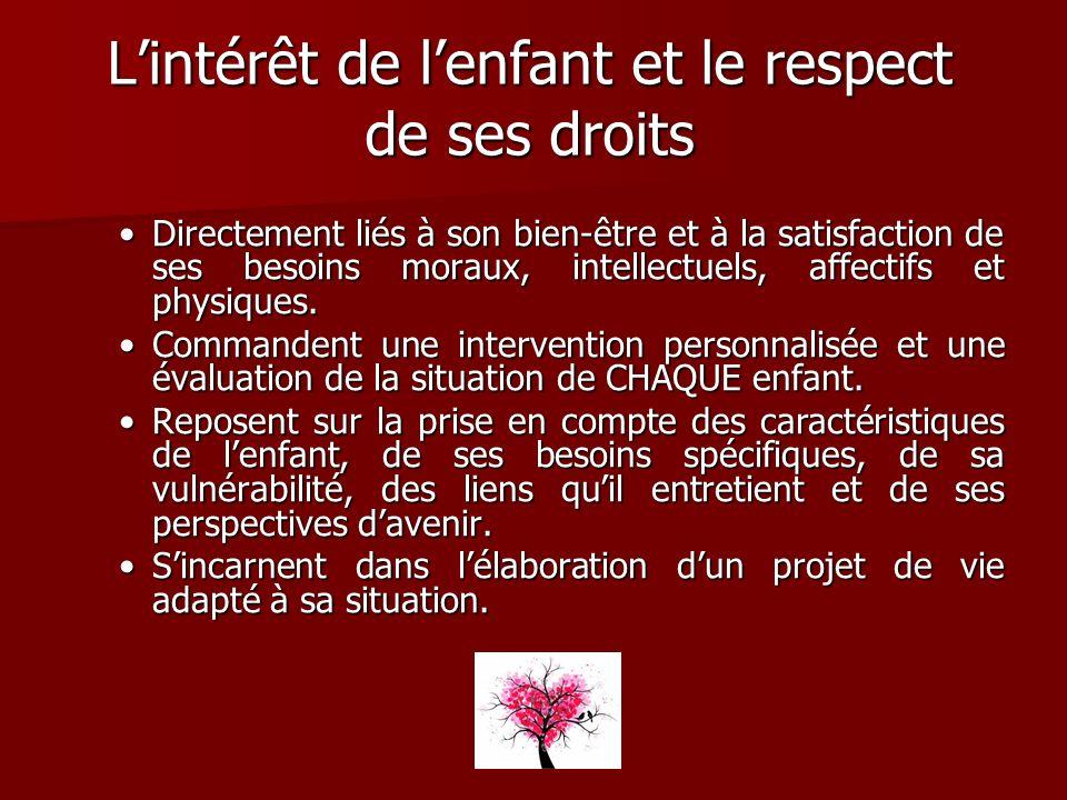 L'intérêt de l'enfant et le respect de ses droits