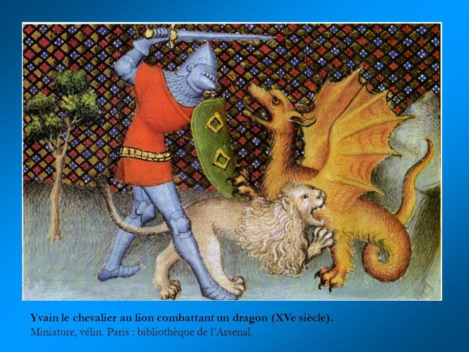 Yvain le chevalier au lion combattant un dragon (XVe siècle).